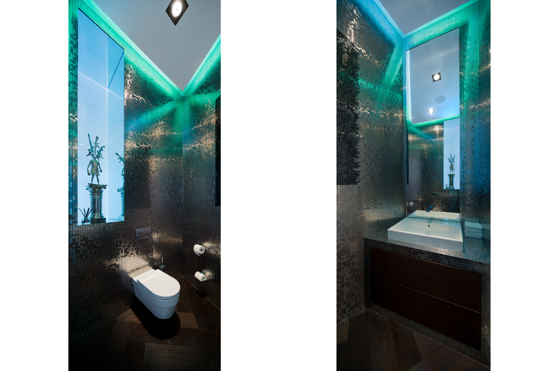 bathroom with glimmering mosaic tiles