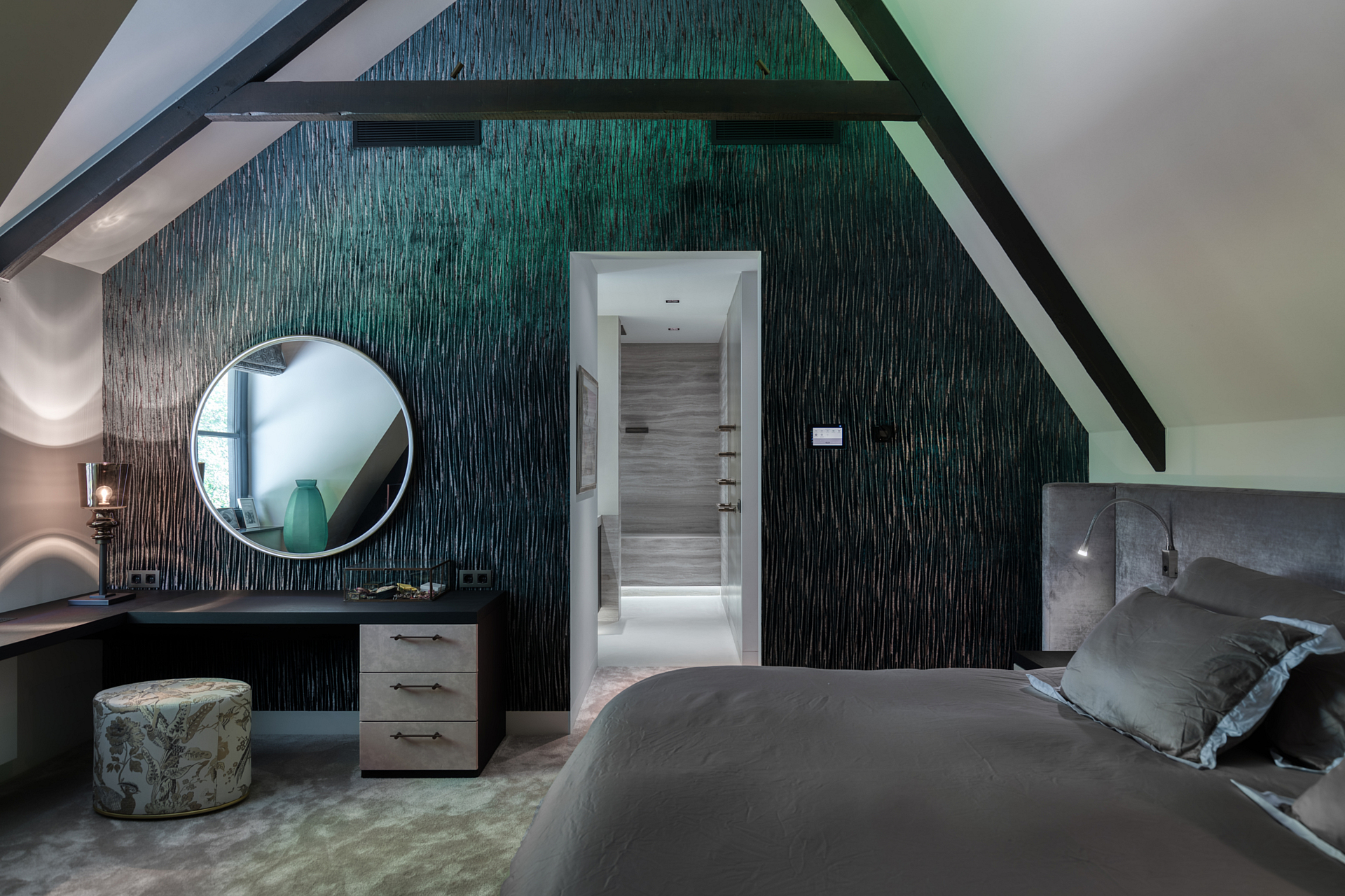 Master bedroom with custom fluorescent Osiris hertman wallpaper and specially designed make up mirror