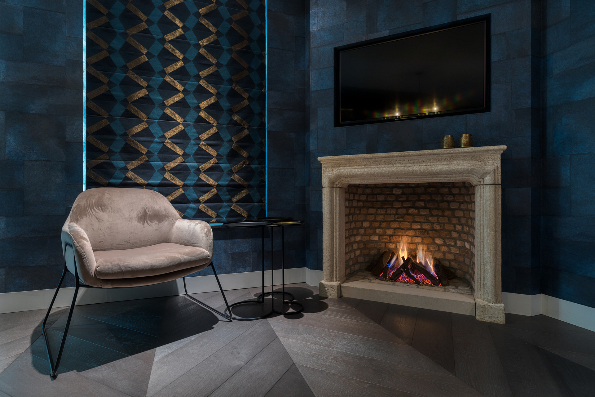 reading corner fireplace blue wallpaper
