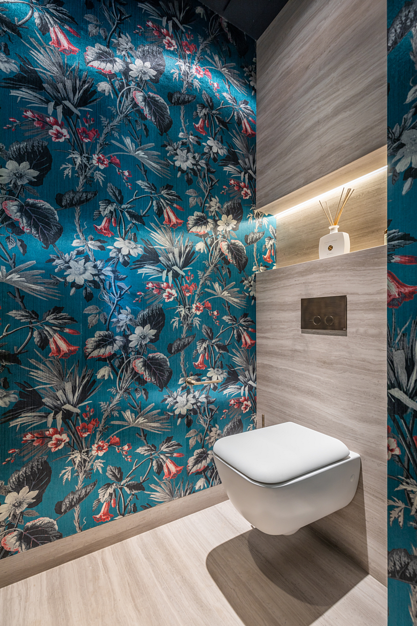 bathroom with colorful and detailed wallpaper for some distraction