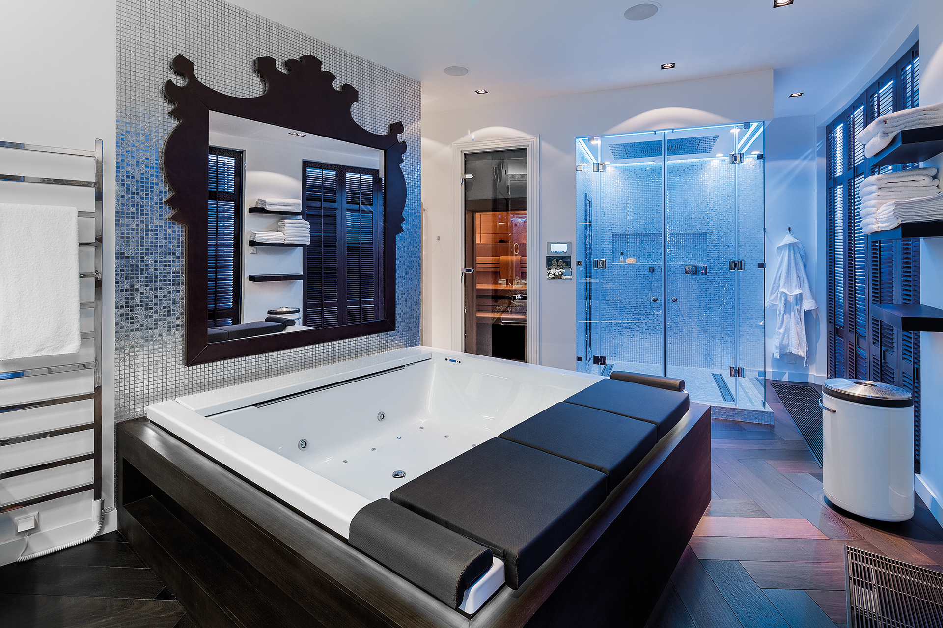 master bathroom with central Jacuzzi and walk in shower