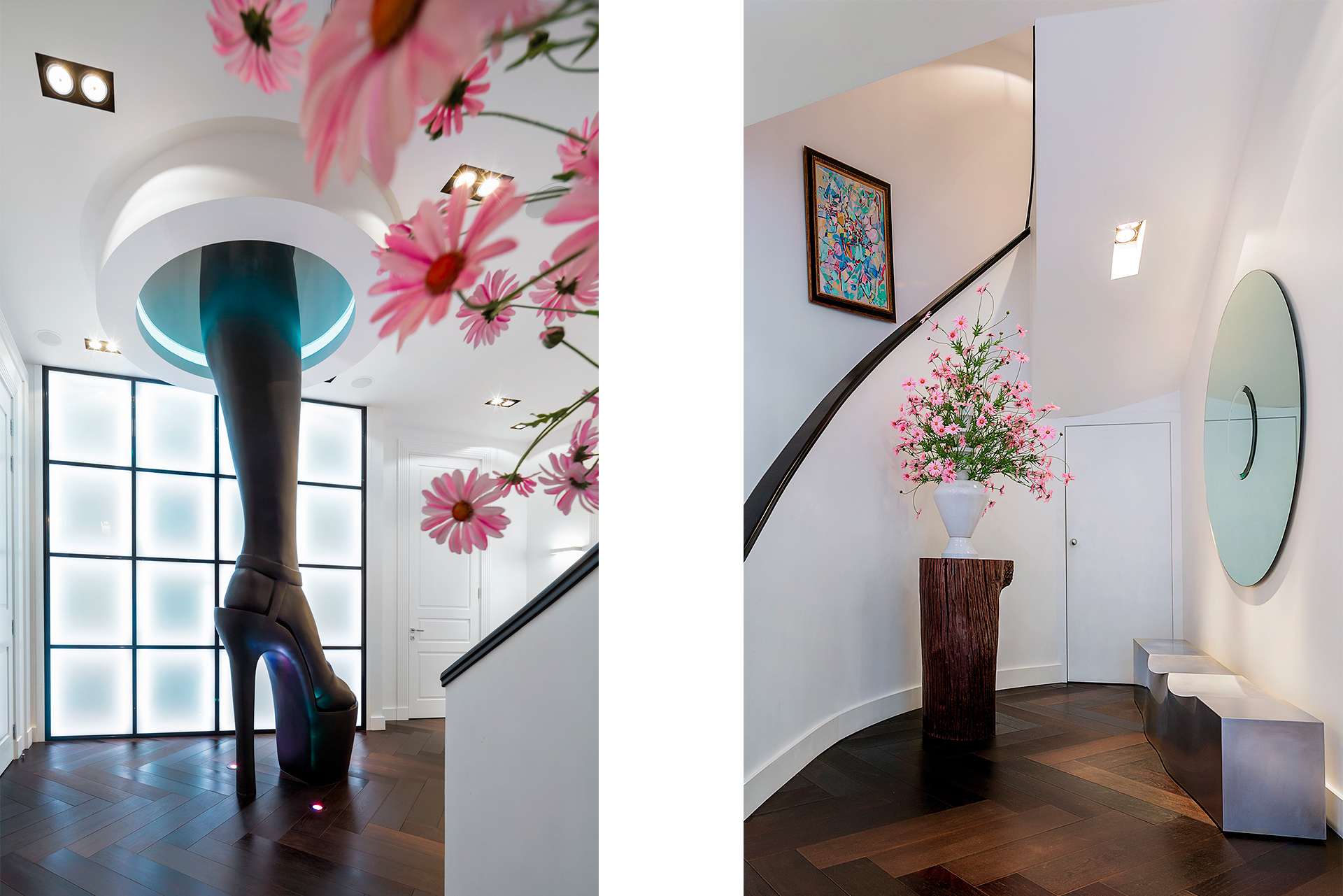 Hallway and leg sculpture with flowers