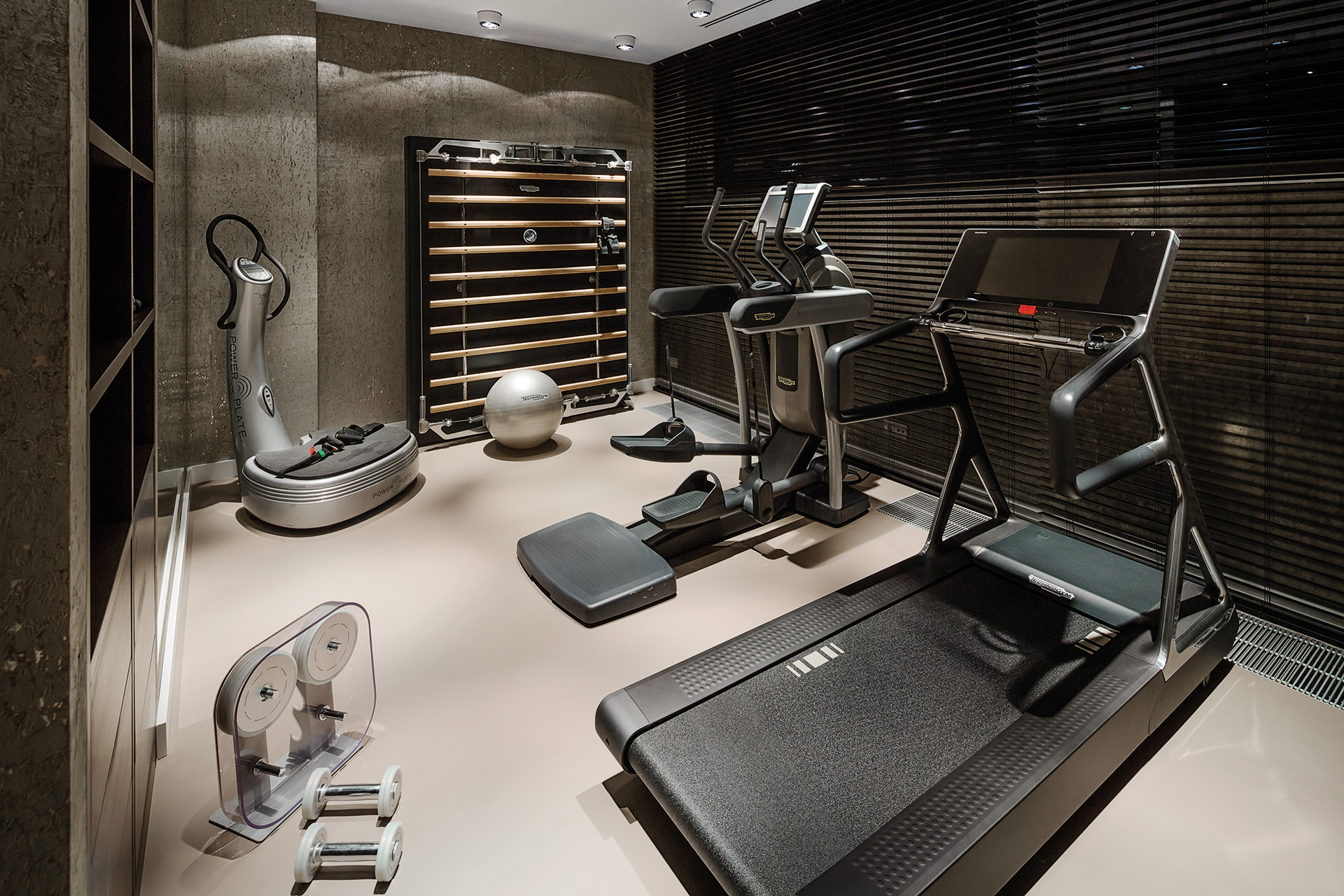 A personal gym with powerplate cross trainer and treadmill on a cast floor overlooking the natural grounds outside