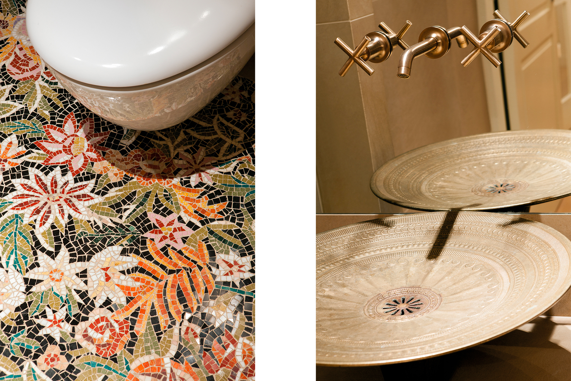 Floral mosiac covers the floor of this restroom and a faucet is built into the mirror above the sink giving it a floating appearance