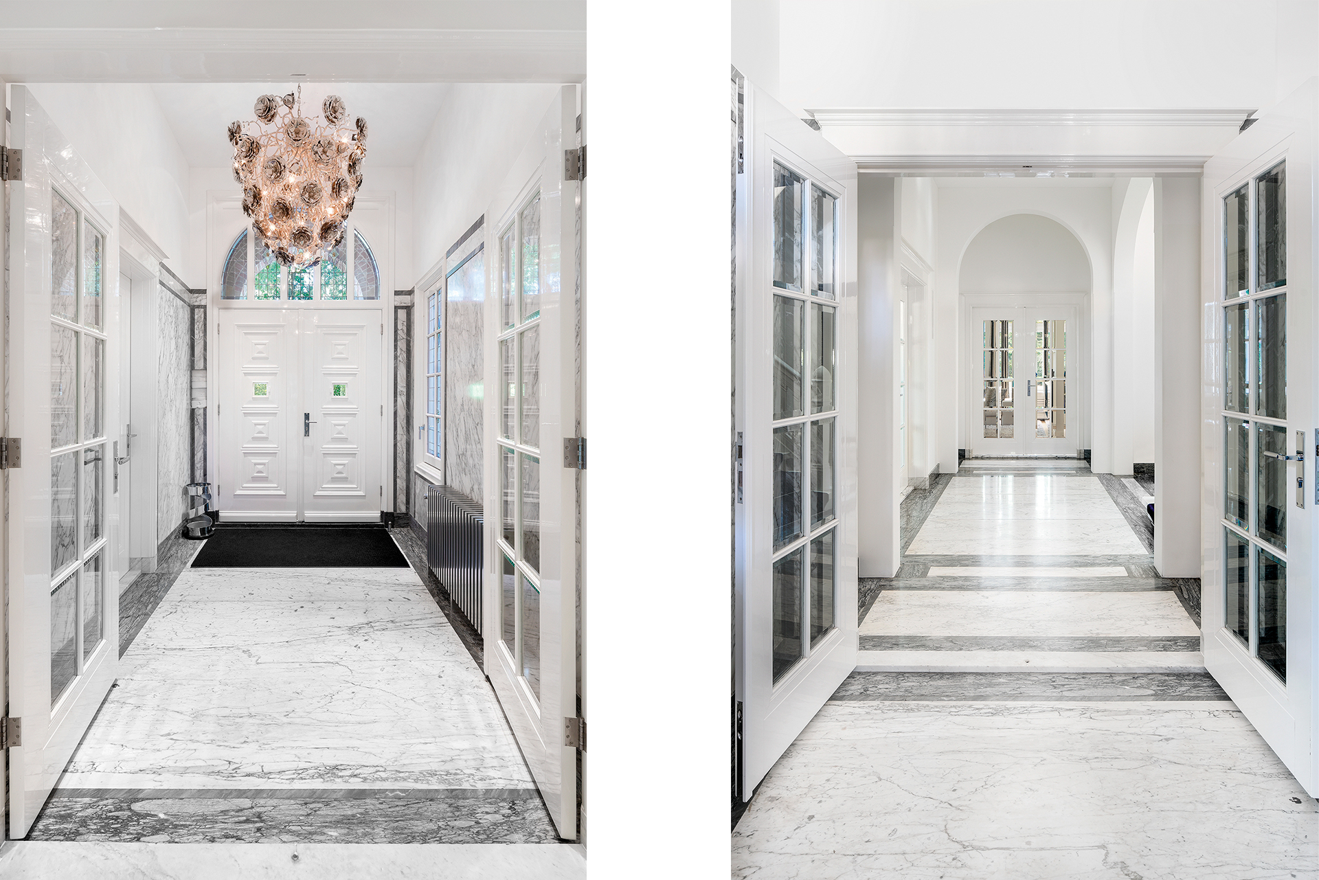 A long hallway with marble floors design chromed radiators and a designer chandelier above