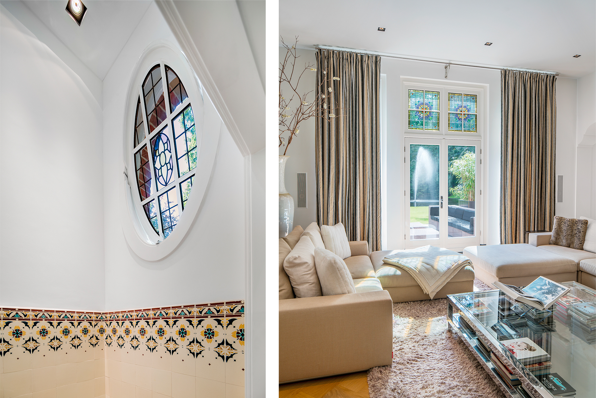Two photos depicting blueish stained glass in their respective rooms