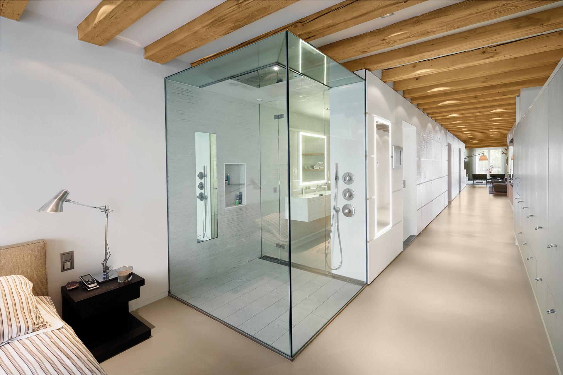 Exterior of the bathroom with privacy smartglass