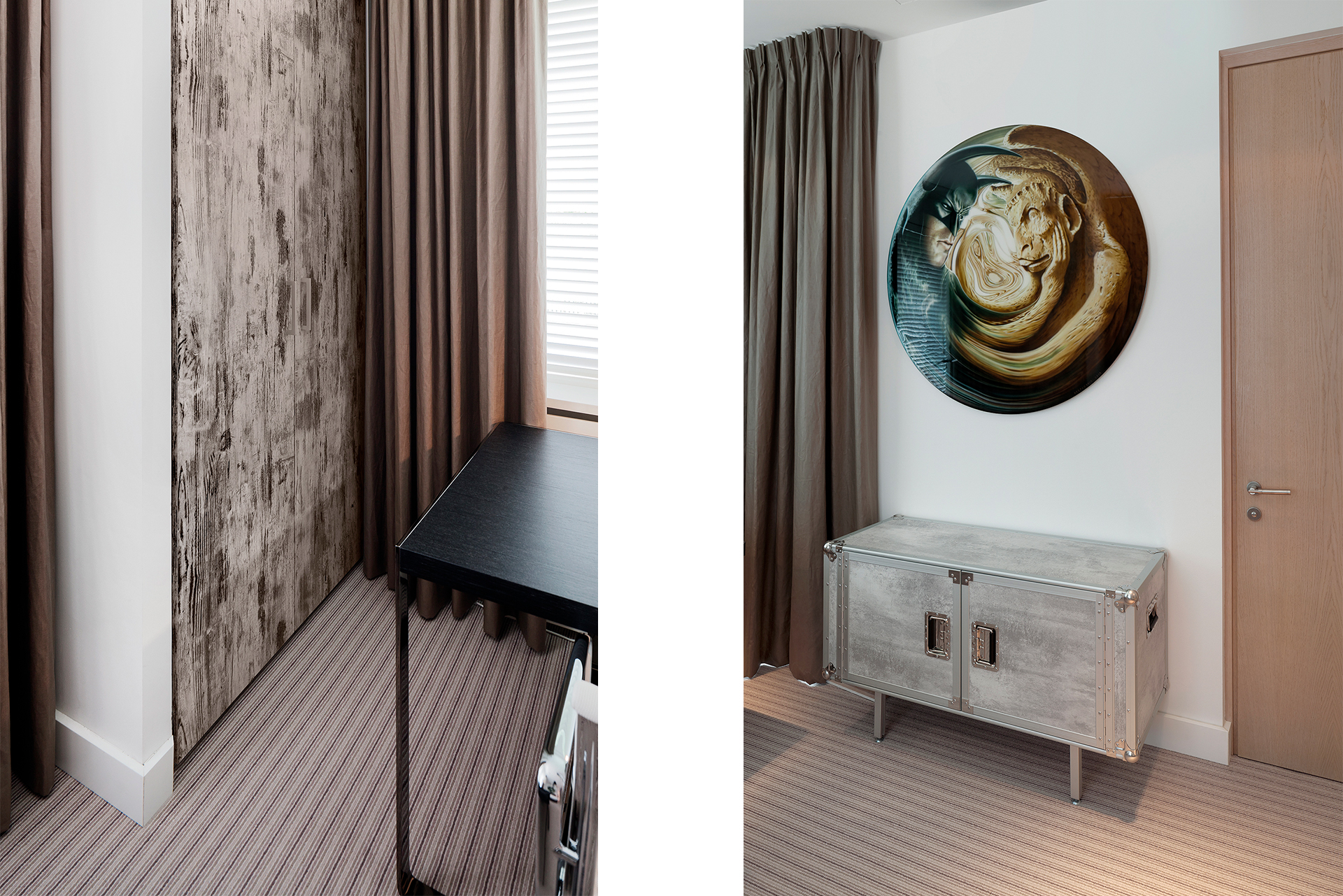 Details from one of the guestrooms with hidden closet and disc art