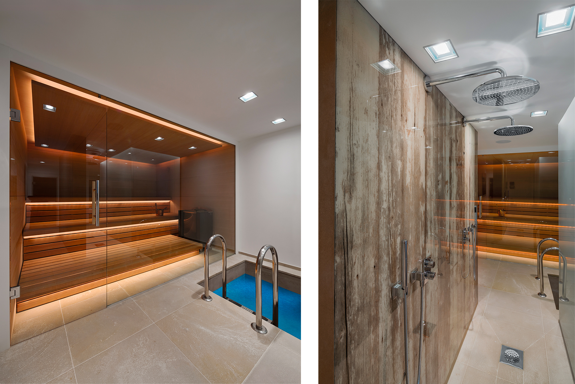 A private sauna with glass seperator and cooling pool including a rain shower hallway